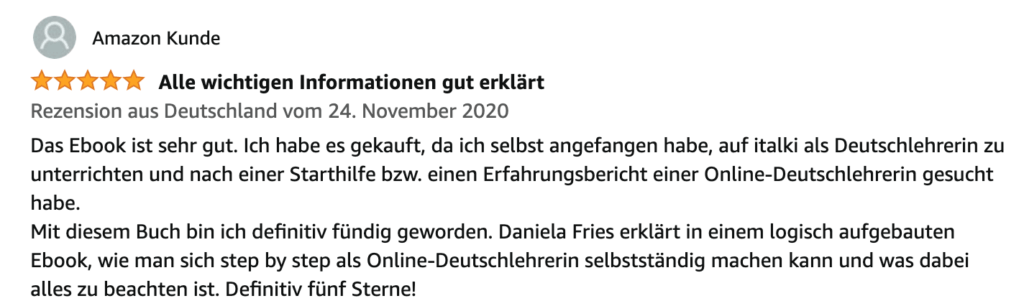 Deutsch online unterrichten Buch Testimonial